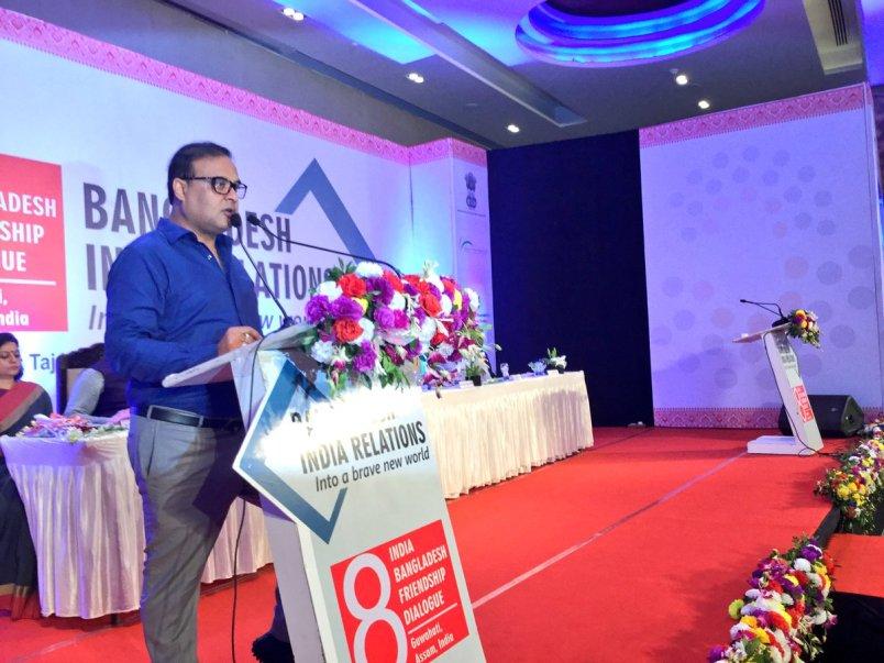 Assam finance minister Himanata Biswa Sarma addressing India Bangaldesh Friendship Dialogue in Guwahti on July 4. Credit: Twitter/@himantabiswa