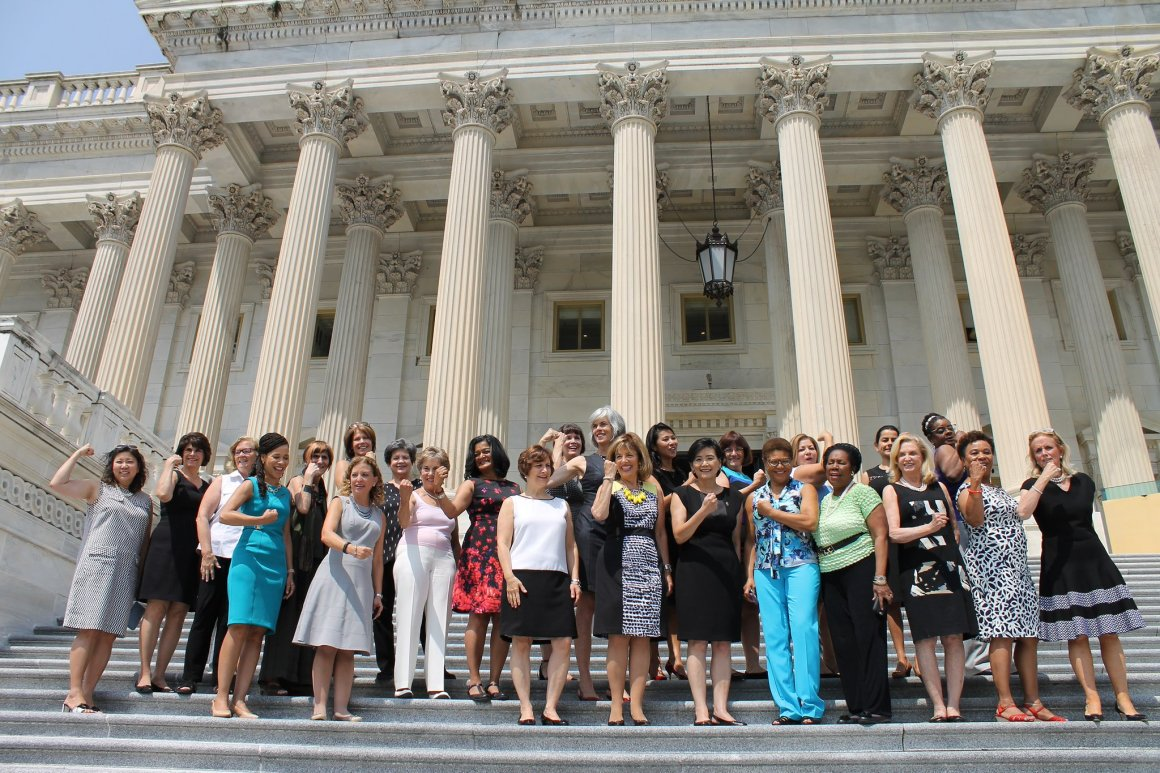 """US Congresswomen gather outside the steps of Congress to mark their """"Sleeveless Friday"""" protest. Credit: Twitter/ Rep. Roybal-Allard"""