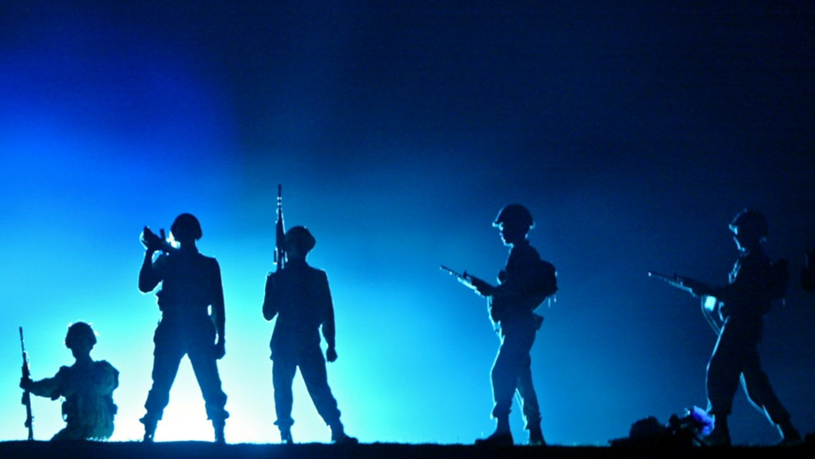 Soldiers enact scenes from the Kargil war in a light and sound show. Credit: Reuters/Fayaz Kabli/Files