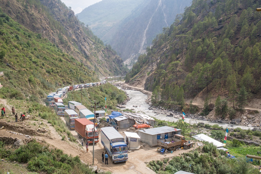 Trucks queing up in Timure, three kilometres from Nepal Tibet border to get clearance from Nepal's security force.