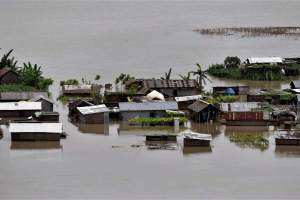 A view of the flooded Katoguri village in Morigaon district of Assam on Thursday. Credit: PTI