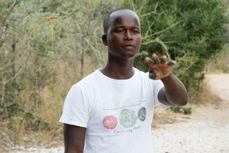 Prince Nkuna is an environmental monitor and mentor of young children with Nourish. He is studying to be a tour guide. Credit: Justin Catanoso