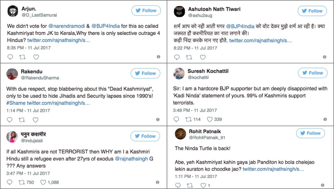 Rajnath Singh Amarnath Kashmiriyat Trolling Twitter
