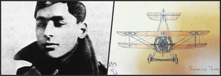 Lieutenant Indra Lal Roy and one of his drawings, made when he was recuperating from his crash. Credit: Imperial War Museum/Indian Air Force Museum