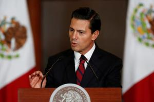 Mexico's President Enrique Pena Nieto speaks to the audience during a meeting with members of the Diplomatic Corps in Mexico City, Mexico, January 11, 2017. Picture taken on January 11, 2017 Credit: Reuters/Carlos Jasso