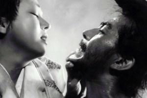 Machiko Kyō and Toshiro Mifune in Akira Kurosawa's Rashômon (1951)