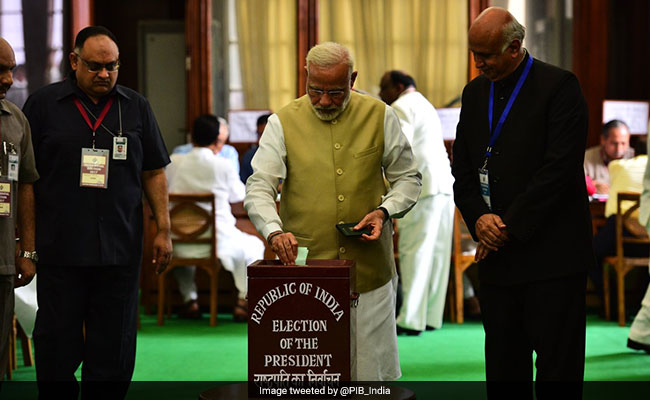 Prime Minister Narendra Modi voting during the presidential election. Credit: PTI