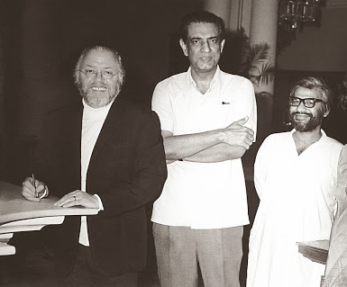 Suresh Jindal, producer of <em>Shatranj ke Khiladi</em>, with Satyajit Ray and Sir Richard Attenborough. Credit: Suresh Jindal