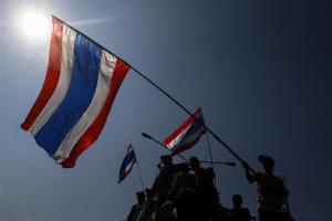 Anti-government protesters wave Thai national flags during a rally at the Public Health Ministry in Bangkok, January 16, 2014. Credit: Reuters/Athit Perawongmetha