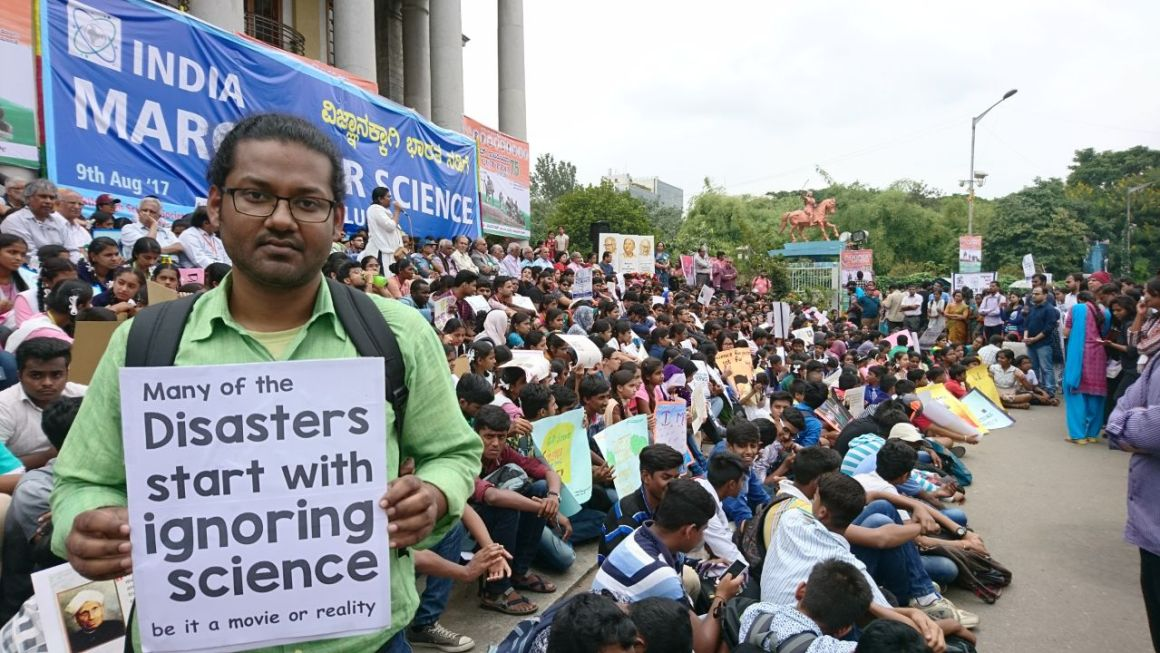 At the March for Science in Bengaluru. Credit: Subham Rath