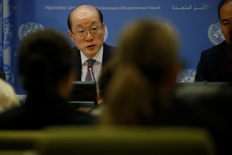 China's ambassador to the UN Liu Jieyi speaks at a news conference at UN Headquarters in New York City, New York, US, July 31, 2017. Credit: Reuters/Carlo Allegri