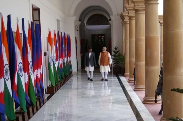 Nepal's Prime Minister Sher Bahadur Dueba with Prime Minister Narendra Modi. Credit: Twitter/@MEAIndia