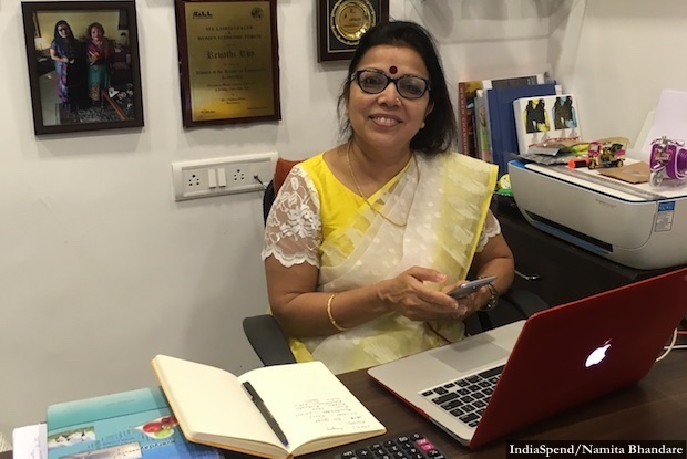 """I'm not giving women a hobby but a skill that will enable them to earn and support their families,"" said Revathi Roy, CEO and managing director, Heydeedee. Credit: IndiaSpend/Namita Bhandare"