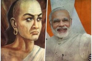 Left: An artist's depiction of Chanakya. Right: Prime Minister Narendra Modi. Credit: Wikipedia