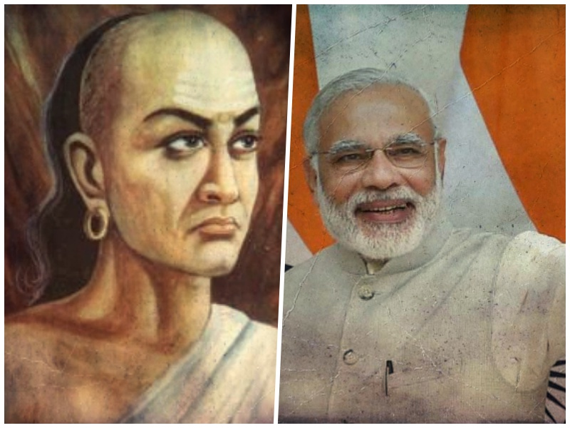 Left: An artist's depiction of Chanakya. Right: Prime Minister Narendra Modi. Credit: Wikipedia