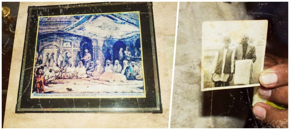A painting on the wall of her home (left), Gurbachan holds out a photo of her grandparents (right). Credit: The Wire