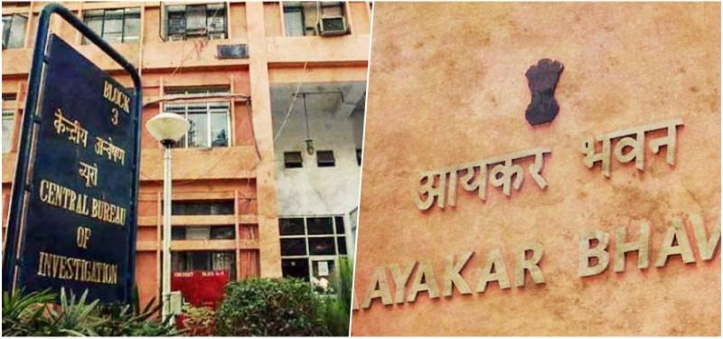 Left: CBI main office in Delhi. Right: Income Tax department building. Credit: PTI