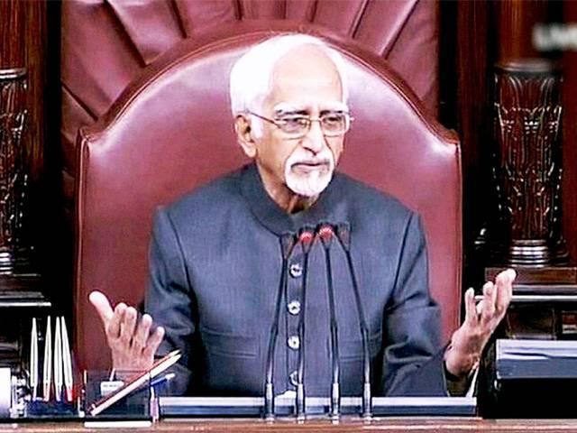 Hamid Ansari in Rajya Sabha. Credit: PTI