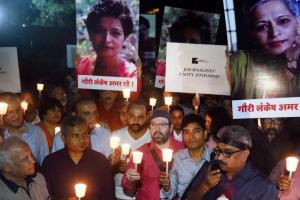 Journalists in Mumbai protest the murder of Gauri Lankesh. Credit: PTI