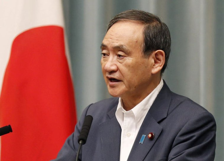 Japanese Chief Cabinet Secretary Yoshihide Suga speaks at a news conference about North Korea's missile launch in Tokyo, Japan in this photo taken by Kyodo on August 29, 2017. Credit:Reuters