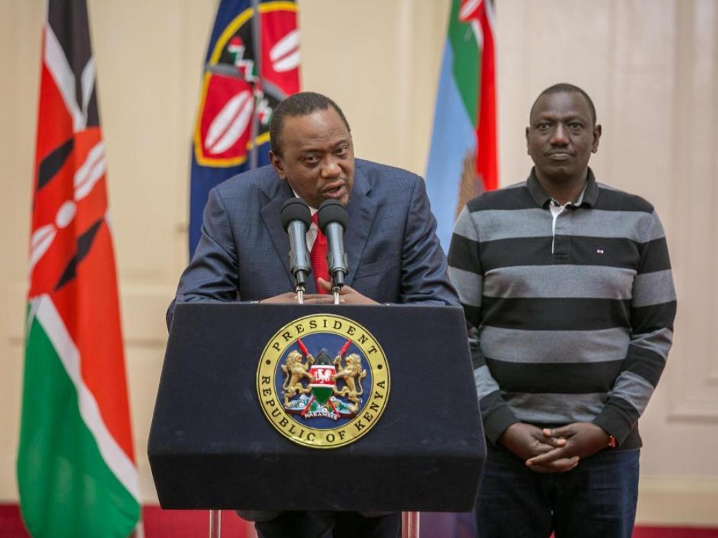 Kenya's President Uhuru Kenyatta flanked by his Deputy William Ruto addresses the nation at State House in Nairobi, Kenya September 1, 2017. Credit: Reuters