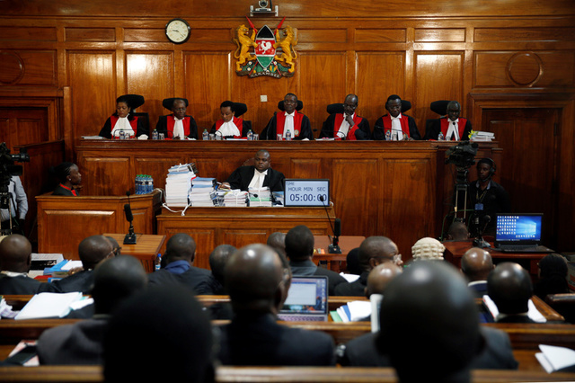 Kenyan Supreme Court judges attend a hearing of a petition challenging the election result filed by the National Super Alliance (NASA) coalition and Human Rights groups at the Supreme Court in Nairobi, Kenya August 28, 2017. Credit:Reuters