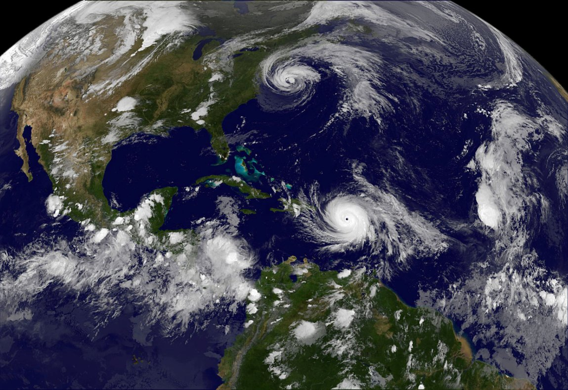 Hurricane Maria which bore down menacingly on the Virgin Islands and Puerto Rico on Tuesday after devastating the tiny island nation of Dominica and Hurricane Jose (top) are both seen in the Atlantic Ocean in this NOAA's GOES East satellite image taken at 21:45 p.m. EDT on September 19, 2017 (0145 UTC, September 20, 2017). Photo Credit: NASA/NOAA GOES Project/Handout via Reuters