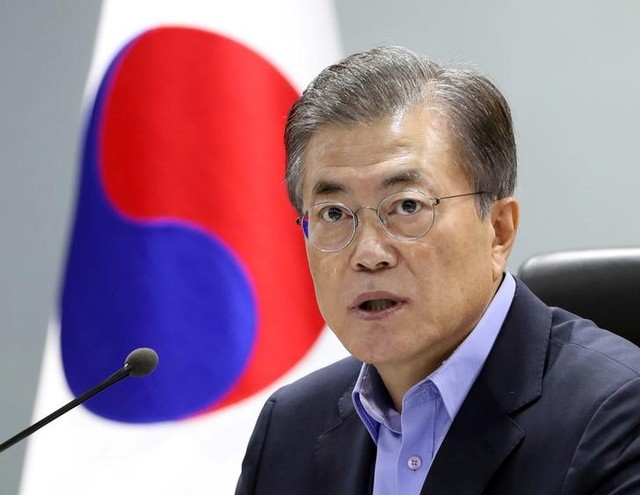 South Korean President Moon Jae-in attends the National Security Council (NSC) meeting in Seoul, South Korea on September 3, 2017. Credit:Reuters