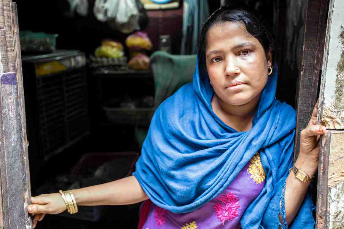 Noor Fatima fled from Buthidaung in Rakhine, Myanmar and came to India in 2012. She lives with her husband and three children and sells vegetables at the camp. Credit: Hina Fathima