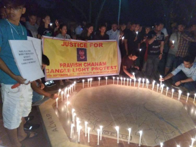 A vigil in the memory of Pravish Chanam at Delhi University. Credit: Facebook/Manipur Times