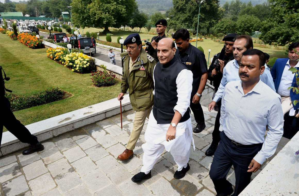 Union home minister Rajnath Singh arrives to address a press conference in Srinagar on Monday. Credit: PTI/S. Irfan
