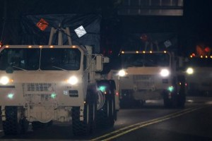 A part of a Terminal High Altitude Area Defense (THAAD) system travels as it heads for Seongju, near the Osan Air Base in Pyeongtaek, South Korea, September 7, 2017. Credit: Reuters