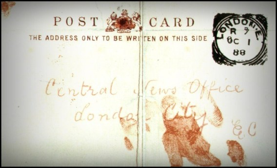 The bloodstained postcard received by Central News Agency in London. Credit: Wikimedia Commons