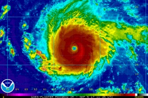 An infrared image of Hurricane Irma on September 5, 2017. Credit: NOAA