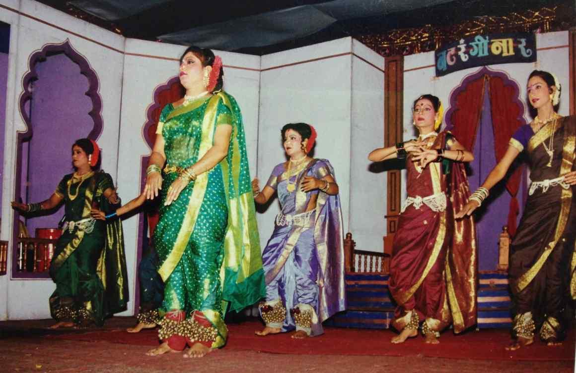 Mangalatai leading the group of dancers in Pune in 2004. Credit:Shailaja Paik