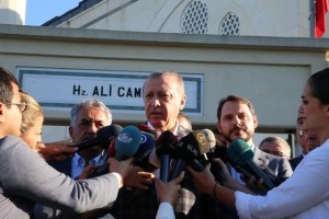 Turkish President Tayyip Erdogan talks to media after prayers for the Muslim Eid al-Adha celebration in Istanbul, Turkey September 1, 2017. Credit:Reuters
