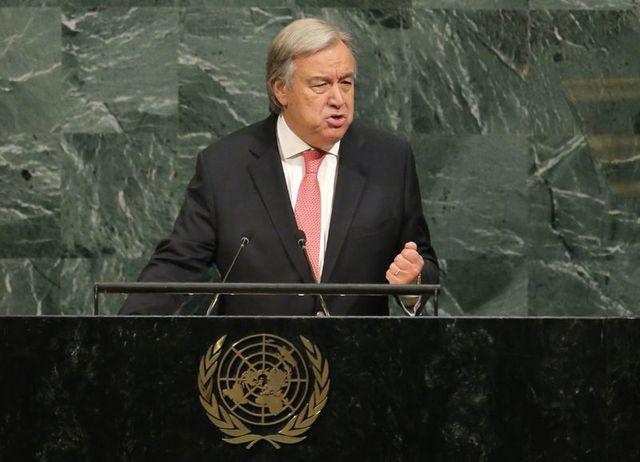 United Nations Secretary General Antonio Guterres addresses the 72nd United Nations General Assembly at U.N. headquarters in New York, US., September 19, 2017. Credit: Reuters