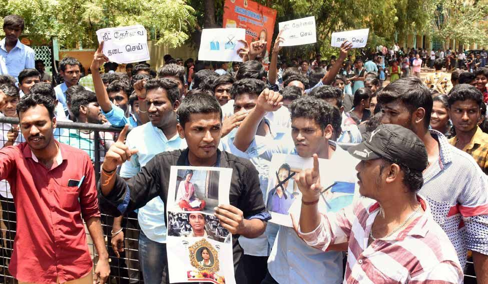 Tamil Nadu has been witnessing massive protests by students unions and youth outfits ever since the death of Anitha. Credit: PTI