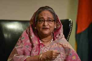 Bangladesh's Prime Minister Sheikh Hasina Wazed speaks with a reporter during the United Nations General Assembly in New York City, US September 18, 2017. Credit: Reuters/Stephanie Keith