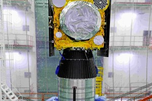 The IRNSS 1H satellite integrated with the PSLV C39's fourth stage. The payload fairing is yet to be installed (in this photograph). Credit: ISRO