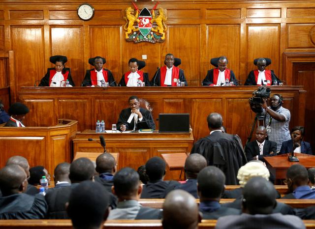 Judges sit in court as President Uhuru Kenyatta's election win was declared invalid in Nairobi, Kenya, September 1, 2017. Credit:Reuters