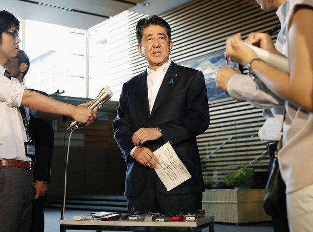Japanese Prime Minister Shinzo Abe speaks to reporters about North Korea's missile launch in Tokyo, Japan in this photo taken by Kyodo on August 29, 2017. Credit: Reuters
