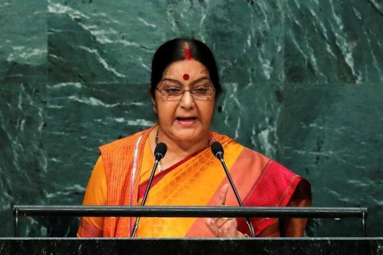 Minister of External Affairs Sushma Swaraj addresses the United Nations General Assembly in the Manhattan borough of New York, U.S., September 26, 2016. Credit: Reuters
