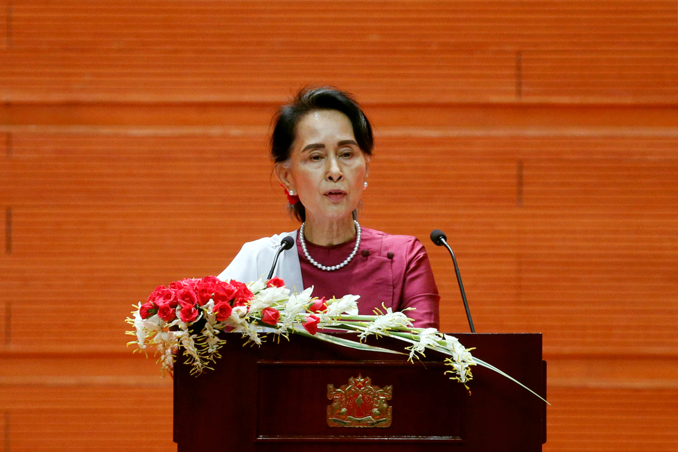 Myanmar State Counselor Aung San Suu Kyi delivers a speech to the nation over Rakhine and Rohingya situation, in Naypyitaw, Myanmar September 19, 2017. Credit: Reuters