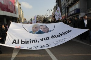 "Thousands protest in Istanbul against corruption and Erdogan's government in Dec. 2013. A banner with Fethullah Gulen and PM Erdogan's pictures reads: ""One is no better than the other"". Credit: Fulya Utalay"