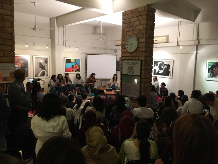 Full house at Sabeen Mahmud's T2F for a discussion with the Pakistan women's cricket team hosted by singer Zeb Bangash. Credit: Beena Sarwar.