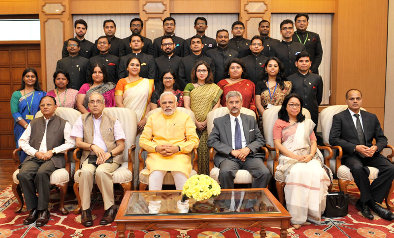 Prime Minister Narendra Modi with the Officer Trainees of the 2013 batch of Indian Foreign Service, in New Delhi on June 04, 2015. Credit: pmindia.gov.in