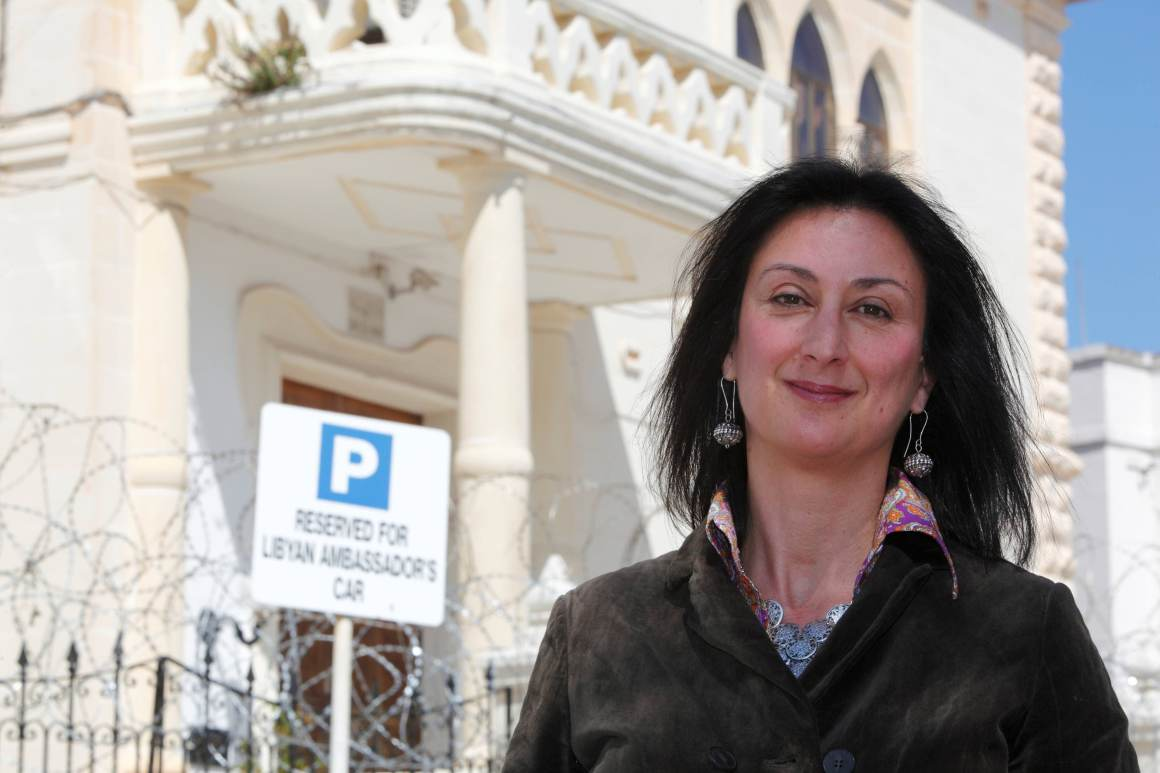 Maltese investigative journalist Daphne Caruana Galizia poses outside the Libyan Embassy in Valletta April 6, 2011. Investigative journalist Caruana Galizia was killed after a powerful bomb blew up a car killing her in Bidnija, Malta, in October 16, 2017. Picture taken April 6, 2011. Credit: Reuters/Darrin Zammit Lupi