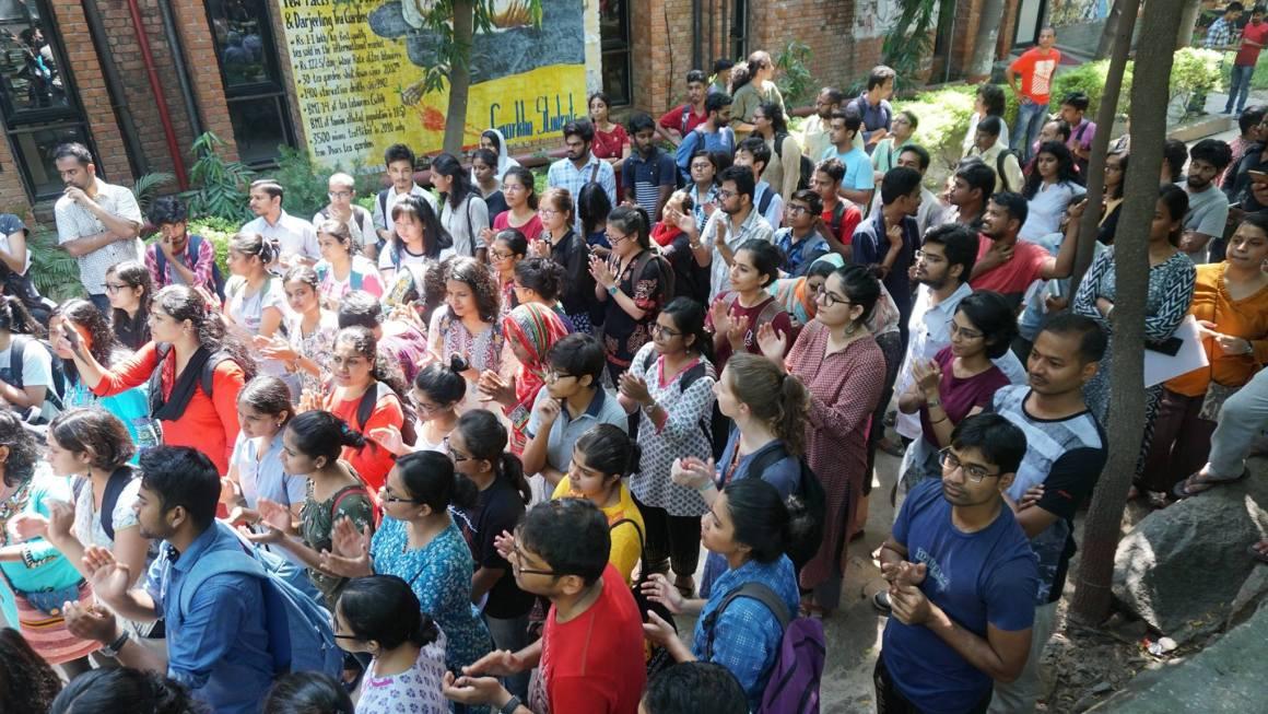 A protest in JNU in defence of GSCASH on September 18. Credit: Facebook/Samir Asgor Ali