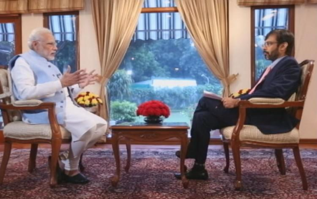 Prime Minister Narendra Modi being interviewed by Rahul Joshi of CNN-News18 (now News18). Credit: narendramodi.in